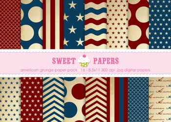 USA Grunge Digital Paper Pack - by Sweet Papers