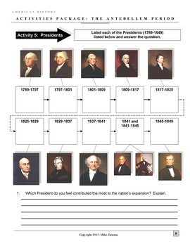 Antebellum Period/Inter-War (1783 - 1861) Package: 49 Pages/Slides of Resources!
