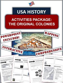 Thirteen Original Colonies Package: 20 Pages/Slides of Act