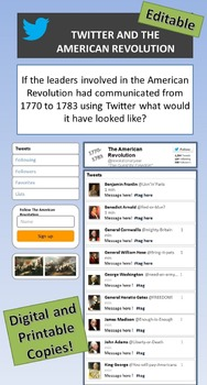 American Revolution and Twitter: What Would Leaders have Tweeted? 2 Versions!