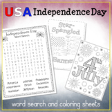 USA Independence Day Word Search and Four Coloring Sheets