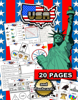 USA July 4th Activity Packet / Worksheet Set with Flashcards