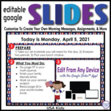 USA Kids Editable GOOGLE SLIDES 4 Morning Messages, Task C