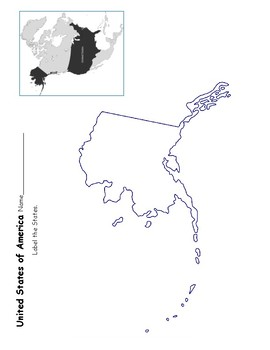 USA Label the States with Proper Scale and Location of Alaska!