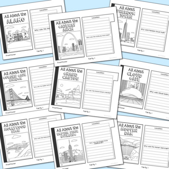 USA Landmark Mini Book Research Templates, Interactive Notebook
