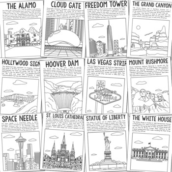 15 USA Landmarks Coloring Page Crafts or Posters with Informational Text