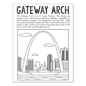 usa landmarks coloring pages | 15 USA Landmarks Coloring Page Crafts or Posters with ...