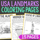 15 USA Landmarks Coloring Page Crafts or Posters with Info