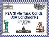 USA Landmarks Task Cards: 3rd Grade FSA Test Prep