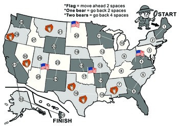USA Map Blank Game Board
