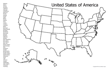 Geography - USA Map Outline & list of 50 States - Tabloid size (11in x 17in)