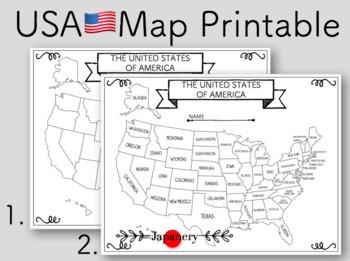 USA Map Printable by Japanery | Teachers Pay Teachers