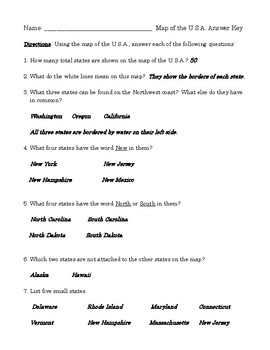 Map Skills: U.S. States Class Worksheet (or Homework) with Detailed Answer Key
