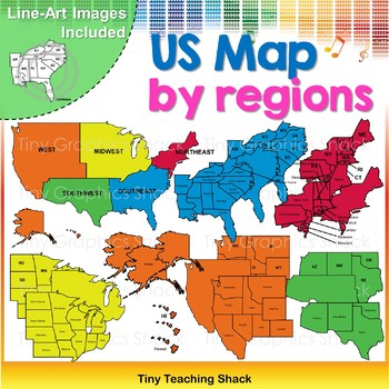 USA Map by Regions Clip Art