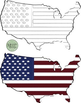 USA Map with Flag Clip Art {Messare Clips and Design}