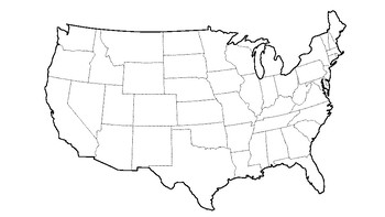 USA Map with State Outlines (excluding Alaska and Hawaii)