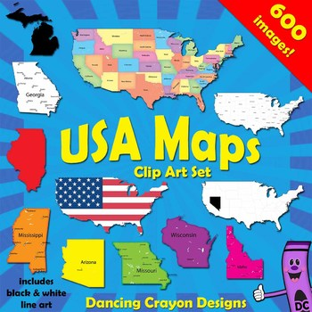 USA Maps Clip Art Bundle: Maps of the US and Maps of US States