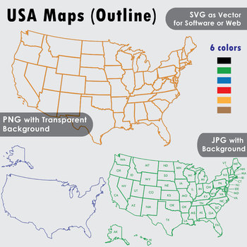 USA Maps Clip Art : Maps of outlines or curve lines with and without state  names
