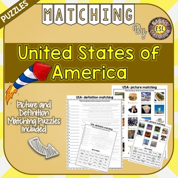 USA Matching Puzzles Country Symbols Vocabulary Words for ESL, EFL, ELL, Sp Ed..