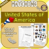 USA ESL Activities Picture and Definition Matching Puzzles