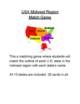 USA Midwest Region Match Game