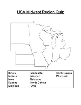 Declarative image pertaining to midwest states quiz printable