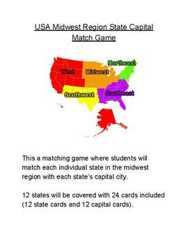 USA Midwest Region State Capital Match Game by Mr Matthews Teacher Store