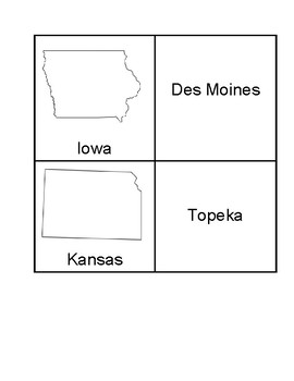 USA Midwest Region State Capital Match Game