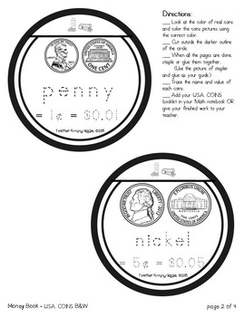 USA Money: Coins and Bills Booklets (B&W and Colored)