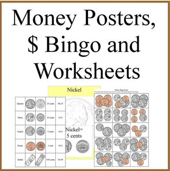 USA Money Posters,  Money  Bingo  and  Money Worksheets