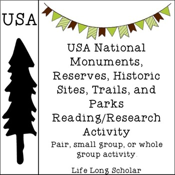 USA National Parks, Sites, Trails, etc. Reading-Research Activity
