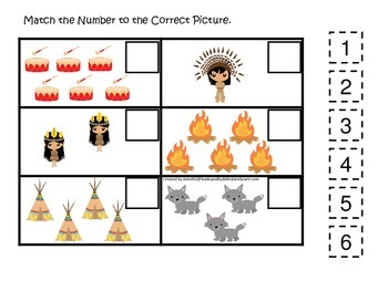USA Native American themed Match the Number preschool printable.  Homeschool day