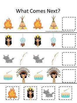 USA Native American themed What Comes Next preschool printable.  Homeschool day