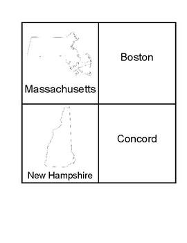 USA Northeast Region State Capital Match Game