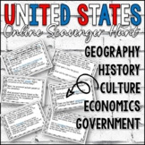 USA Online Scavenger Hunt (64 Question Cards- 5 Themes of Social Studies)