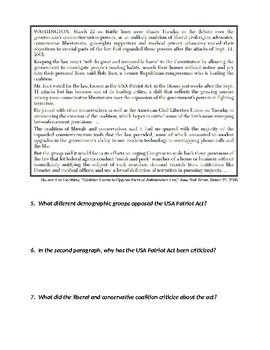 USA Patriot Act Inquiry Assignment