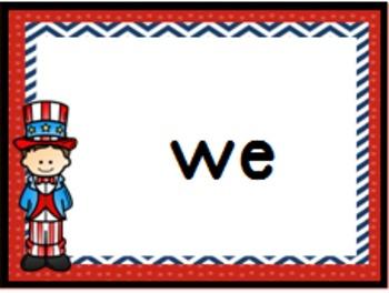 July 4th USA Patriotic Bingo Dolch  Pre-Primer Classroom Set 1 & Set 2 Bundle