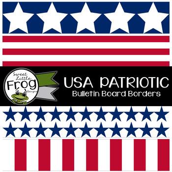 USA Patriotic Stars and Stripes Bulletin Borders