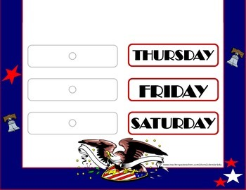 USA Patriotic Weekday Chart. Flag Weekday Chart. Patriotic Flag Bulletin!