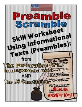 FREE! USA Preamble Scramble: Using Informational Text