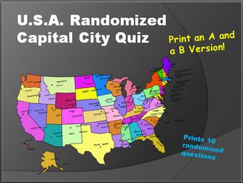 USA Random Capital City Quiz Generator