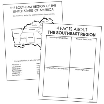 USA Regions Activity FREEBIE, States and Capitals Project ...