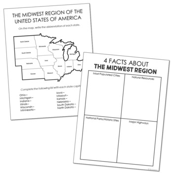 USA Regions Activity FREEBIE, States and Capitals Project | DISTANCE LEARNING