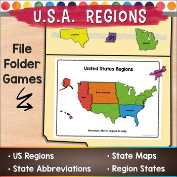 Usa Map With Regions.Usa Regions File Folder Games By Exceptional Thinkers Tpt