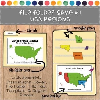 USA Regions File Folder Games