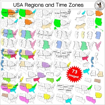 USA Regions Time zone Maps 73 Clip Art images by Caboose Designs
