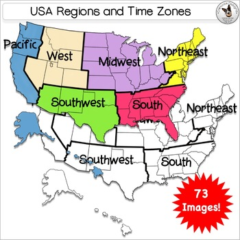 USA Regions & Time zone Maps 73 Clip Art images