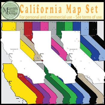 USA Sets - California State Map Set {Messare Clips and Design}