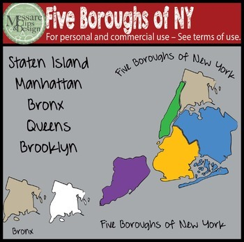 USA Sets - Five Boroughs of NYC Clip Art {Messare Clips and Design}