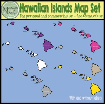 USA Sets - Hawaii State Maps with Lat/Long Overlays {Messare Clips and Design}